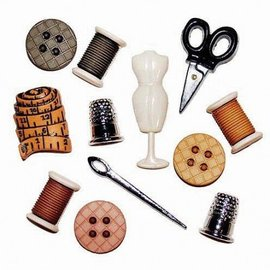 Embellishments / Verzierungen Enfeites / Ornamentos Button, costura quarto, 12 peças, colorido