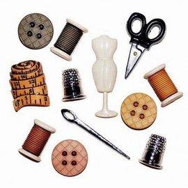 Embellishments / Verzierungen Versieringen / Ornamenten Button, Sewing Room, 12 stuks, kleurrijke