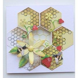 Joy!Crafts / Jeanine´s Art, Hobby Solutions Dies /  Corte y estampado de plantilla + sello: Honeycomb