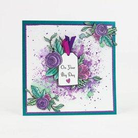 Tonic Gummi Stempel: Label mit Blumenmotiv