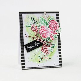 Tonic Rubber stamp: Label with floral motif