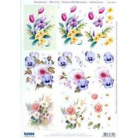 Bilder, 3D Bilder und ausgestanzte Teile usw... Folhas A4 cortadas: buquês de flores