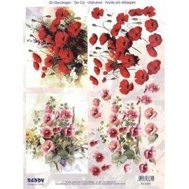 Bilder, 3D Bilder und ausgestanzte Teile usw... A4 Stanzbogen: Mohnblumen und Malven