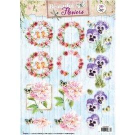 Bilder, 3D Bilder und ausgestanzte Teile usw... Hoja perforada A4: Hermosas flores