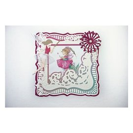 Marianne Design cutting and Embossing template: Anja's Frilly square