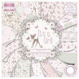 Designer Papier Scrapbooking: 30,5 x 30,5 cm Papier papier Designer, 15,5 x 15,5 cm, « Il est une fille »