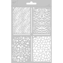 Joy!Crafts / Jeanine´s Art, Hobby Solutions Dies /  Poly Besa, A5 multi stencil med 4 forskellige væg- / sten motiver
