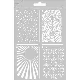 Joy!Crafts / Jeanine´s Art, Hobby Solutions Dies /  Poly Besa, A5 Multi Stencil med 4 forskellige designs