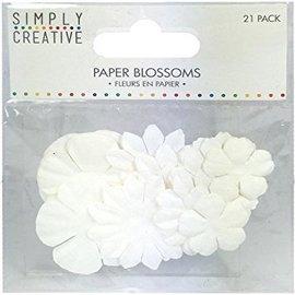 BLUMEN (MINI) UND ACCESOIRES Fleurs de papier Simply Creative - Blanc