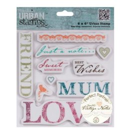 Docrafts / Papermania / Urban Rubber stamp, vintage notes