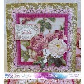 Couture Creations smukke sæt papirer, 24 ark, 30,5 x 30,5 cm (12 x 12 tommer) + precut Decoupage Sheet Deep Rose!