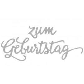 Spellbinders und Rayher Corte e gravação em relevo stencils, texto em alemão: Feliz aniversário