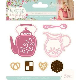 Crafter's Companion Cutting en embossing sjabloon: Vintage Tea Party