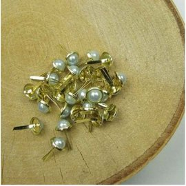 Embellishments / Verzierungen 10 brads mother of pearl, 8 mm