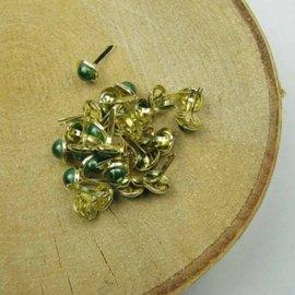 Embellishments / Verzierungen 10 brads madreperla, 8 mm verde chiaro