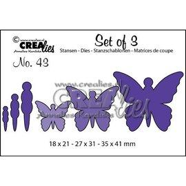 Crealies und CraftEmotions skæring og prægning skabelon: 3 sommerfugle