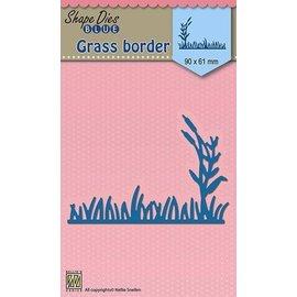 Nellie Snellen skære og prægning skabelon: græs grænse, 90x61mm