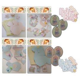 BASTELSETS / CRAFT KITS Komplettes Kartenset für 6 Baby Karten + Umschlägen