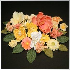 Fleurs en papier assortiment, orange, jaune, blanc