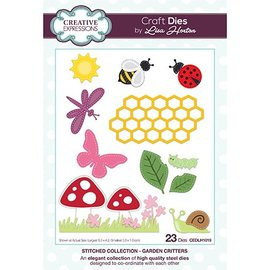 CREATIVE EXPRESSIONS und COUTURE CREATIONS CREATIVE EXPRESSIONS, Stanz- und Prägeschablone: Stitched Collection Garden Critters