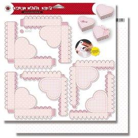 BASTELSETS / CRAFT KITS Baby, 3 hjertekasser, stanseark rosa