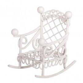 Embellishments / Verzierungen Deko Mini Schaukelstuhl, 2,5x4,5x4,5cm, weiß