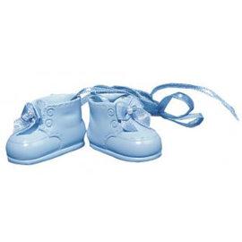 Embellishments / Verzierungen Polyresin-Babyschuhe, 4 cm, Box 1 Paar, h.blau