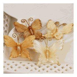 Prima Marketing und Petaloo Prima Marketing, Blomster-Mariposa, Topaz. 4 smukke sommerfugle med smukke perler og glitter.