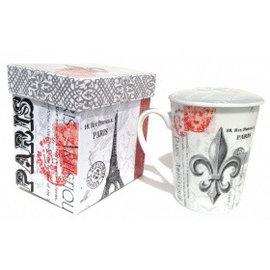 "Taza de té, ""Fleur de Lys-Paris"" con tapa"