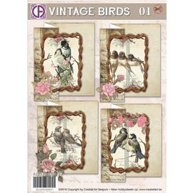 BASTELSETS / CRAFT KITS Conjunto de cartas, Vintage Birds 01, para 4 cartas