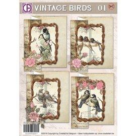 BASTELSETS / CRAFT KITS Set de cartes, Oiseaux Vintage 01, pour 4 cartes
