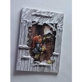 BASTELSETS / CRAFT KITS Conjunto de cartões: 3 cartões de celeiro em 3D óptica + envelopes