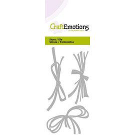 Crealies und CraftEmotions skæring og prægning: String og raffia bue, Kort 5x10cm