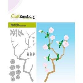 Crealies und CraftEmotions Stanzschablonen: Zweig mit Blüten, Card 5x10cm
