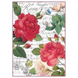 DECOUPAGE AND ACCESSOIRES Stamperia rijstpapier A4 rode rozen & muziek