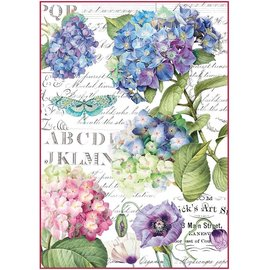 DECOUPAGE AND ACCESSOIRES Stamperia Carta di riso A4 Hortensia & Dragonfly