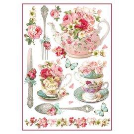 Stamperia Canecas florais & bules do papel do arroz A4 de Stamperia
