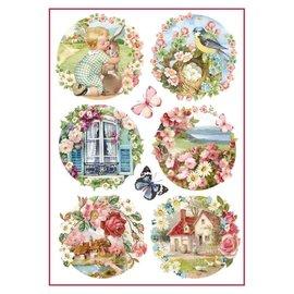 Stamperia Stamperia rispapir A4 blomsterlandskap