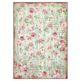 DECOUPAGE AND ACCESSOIRES Stamperia rijstpapier A4 kleine rozen en geschriften textuur