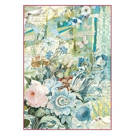 DECOUPAGE AND ACCESSOIRES Stamperia arroz papel a4 azul buquê de flores