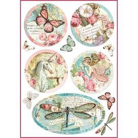 DECOUPAGE AND ACCESSOIRES Stamperia Ris Papir A4 Wonderland Fantasy Dekorationer