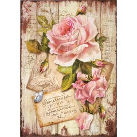 DECOUPAGE AND ACCESSOIRES Stamperia rijstpapier A4 Sweet Time Rose