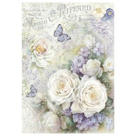 DECOUPAGE AND ACCESSOIRES Stamperia Rice Paper A4 White roses & Lilac Butterflies