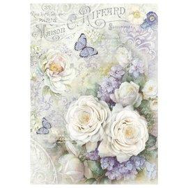 DECOUPAGE AND ACCESSOIRES Stamperia rispapir A4 Hvide roser og lilla sommerfugle
