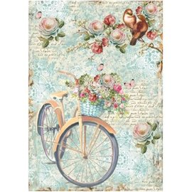 DECOUPAGE AND ACCESSOIRES Stamperia Rice A4 Paper Bike & Branch con Flowes