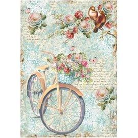 DECOUPAGE AND ACCESSOIRES Stamperia rijst A4-papier fiets & tak met flowes