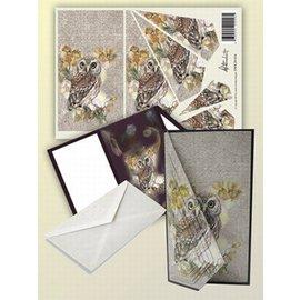 BASTELSETS / CRAFT KITS Set de cartes pour 1 carte pliante avec un joli motif de chouettes!