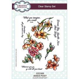 CREATIVE EXPRESSIONS und COUTURE CREATIONS Gennemsigtigt frimærke: blandet flok blomster