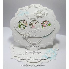 CREATIVE EXPRESSIONS und COUTURE CREATIONS Cutting and embossing Template: 3 round frames with stitchlines