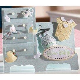 Crealies und CraftEmotions Ponsen sjabloon: Baby kleding